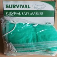 Masker 3PLY Earloop Murah Warna Hijau (eceren 1pc)
