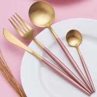 ES set sendok garpu pisau stainless steel pisau steak - Merah Muda
