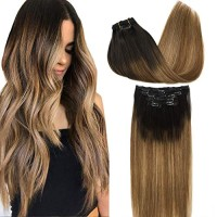 GOO GOO Remy Hair Extensions Clip in Human Hair Extensions Ombre Dark