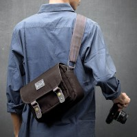 Tas Kamera 008 Mini BROWN - Sling Bag for Mirrorless / Dslr / Ipad