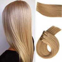 Clip in Human Hair Extensions 7 Pieces 70 Gram Golden Blonde Clip in R