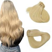 Bleach Blonde #613 Human Hair Clip in Extensions 15 Inch Short Straigh