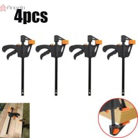 F Clamp Squeeze Gadget Wood Grip Plastic 195mm Black + Orange Bar