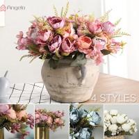 1 Buket Bunga Peony Model Imitasi Bahan Sutra untuk Dekorasi Pesta