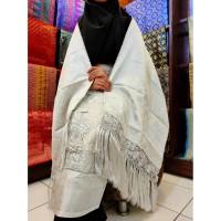 Kain Songket Palembang Bordir 2 In 1 Putih Silver