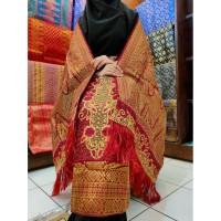 Kain Songket Palembang Bordir 2 In 1 Marun