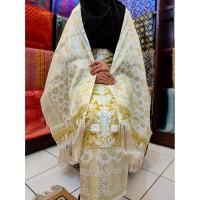 Kain Songket Palembang Bordir 2 In 1 Putih Gold