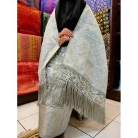 Kain Songket Palembang Bordir 2 In 1 Abu Abu