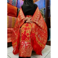 Kain Songket Palembang Bordir 2 In 1 Merah