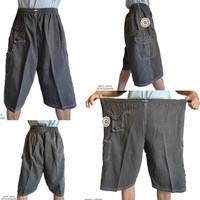 JEANS Celana Kolor Pendek Jumbo Jeans Karet Pria denim - Hitam