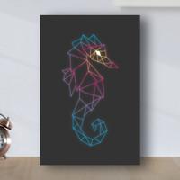 Poster Minimalis Geometric Kuda Laut - Poster Kayu MDF