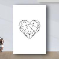 Poster Minimalis Geometric Love - Poster Kayu MDF