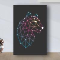 Poster Minimalis Geometric Macan - Poster Kayu MDF - Hitam Gradasi