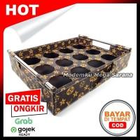 Nampan 2 in 1 Tatakan Aqua Gelas Kotak Vinyl Lubang 12 - Coklat LV