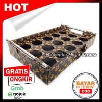 Nampan 2 in 1 Tatakan Aqua Gelas Kotak Vinyl Lubang 15 - Coklat LV