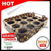 Nampan 2 in 1 Tatakan Aqua Gelas Oval Vinyl Lubang 12 - Coklat LV