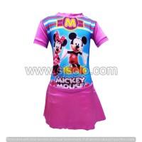 Baju Renang Anak Cewek motif Gambar Lengan Pendek Celana Rok