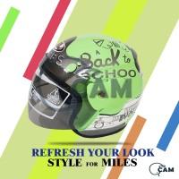 Helm SNI Evo motif back to school hijau pastel bukan gm bxp