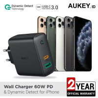 Aukey Charger Dual-Port 60W PD with Dynamic Detect for Iphone -500394