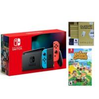 Nintendo Switch V2 Neon Animal Crossing Bundle