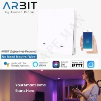 ARBIT Smart Home ZigBee Wall Switch 2 Gang Without Neutral line TUYA