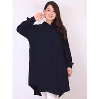 Kemeja Tunik Basic Jumbo Wanita Baju Kerja Lengan Panjang Aura XL XXXL - XL, Navy