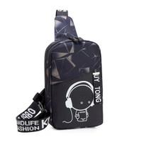Freeknight Tas Selempang Pria Luminous Casual Fashion Sling Bag TS409 - Hitam