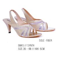Sepatu Sandal heels gold sling back Sandal pesta wanita cantik G-Shoes
