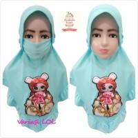 Jilbab Masker Hijab Anak Niqob Cadar LED Kerut Bisa Nyala - Merah
