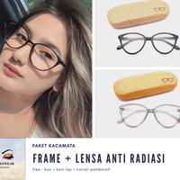 Frame kacamata 810 + lensa anti radiasi minus/plus/cylinder