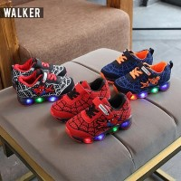 LKM168 Sepatu Sport Spiderman Anak Laki-Laki Casual Bayi Lampu LED