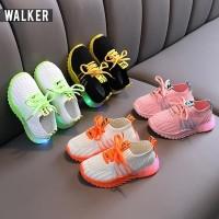 LKM170 Sepatu Sport Sneaker Anak Unisex Casual Bayi Lampu LED Sekolah