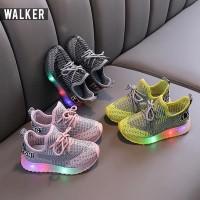 LKM169 Sepatu Sport Sneaker Anak Unisex Casual Bayi Lampu LED Sekolah
