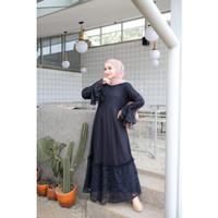 Gamis Wanita Muslim | Aluna Dress | Full Lace Flower Lapis Moscrepe