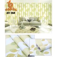 Home Wallpaper Sticker Dinding Salur Daun Hijau - 45cm x 10 m
