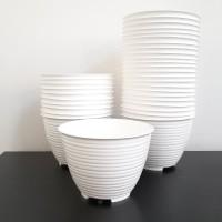 Pot Bunga Plastik 15cm, Pot Honey GBL, Tawon Putih ShabbyChic, Pot D15