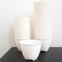 Pot Bunga Plastik 12cm, Pot Honey GBL, Tawon Putih ShabbyChic, Pot D12