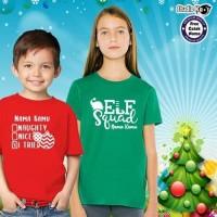 Baju Kaos Natal Christmas Anak Banyak Cetak Nama Warna Merah Hijau