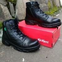 sepatu boots kickers safety ujung besi hitam full black ziper sleting