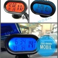 Jam Digital Mobil Pengukur Voltase Accu Pengukur Suhu