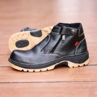 Sepatu safety boot kulit asli Kickers Byson zipper (Ujung besi +