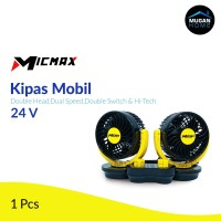 Kipas Angin Mobil Micmax Double-Headed Double Switch - Yellow 24 Volt
