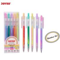 Pulpen Pelangi Rainbow Gel Pen Klik 5 Warna Warni JOYKO GPC-324 Pastel