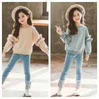 Setelan import anak perempuan atasan dan jeans