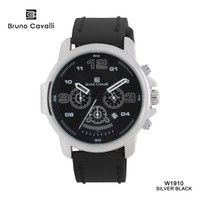 Bruno Cavalli Jam Tangan Pria Original W1910 Type Analog Mesin Japan - Silver Black