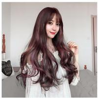 Wig Wanita Wig Panjang Curly Poni
