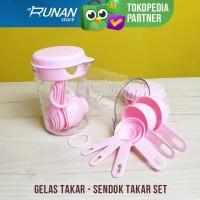 Gelas Takar Set - Sendok Takar Set Pink Measuring Cup Spoon Gelas Ukur