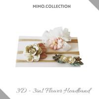 3D - 3in1 Flower Headband Baby 3pcs Bando Bandana Bunga Pita Anak Bayi