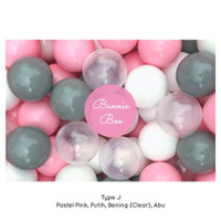 100Pcs BUNNIE BOO BALL 6,5CM Bola Mandi Plastik Mainan Anak Import - Type J