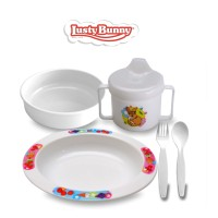 Lusty Bunny Perlengkapan makan Bayi Feeding Set 5in1 Blue